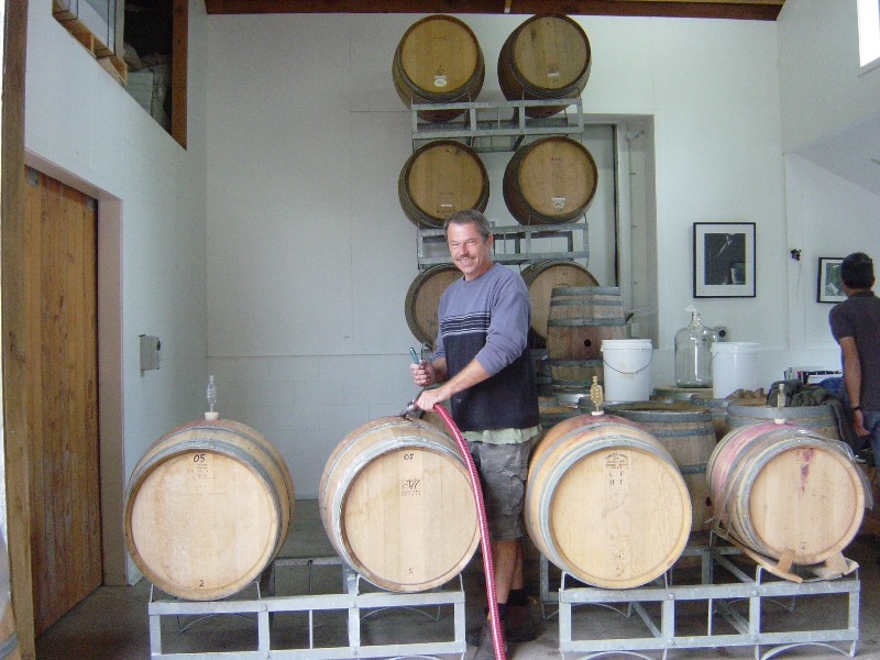 Winemaker Herb and the barrels