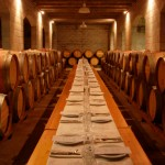 Dinner in a barrel room
